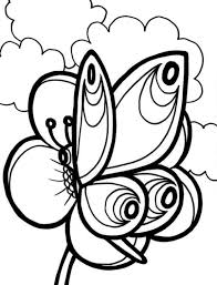 butterfly and big flower coloring page for kindegarten animal