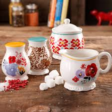 the pioneer woman flea market decorated sugar and creamer with
