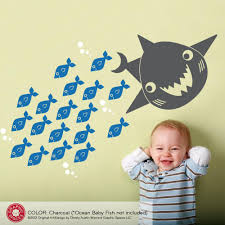 happy shark wall decal graphic spaces shark wall decal