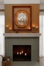 decoration fake exposed brick wall with table lamp also fireplace