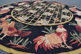Round Rooster Rug Rolling Wooden Rooster Trash Can Country Kitchen New On Popscreen