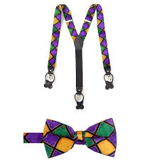 mardi gras bow tie mens mardi gras suspender and bowtie set suspenders accessories