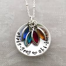 birthstone mothers necklace s cupped birthstone necklace personalized name necklace