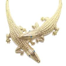 animal gold necklace images Large crocodile shaped statement wrap necklace in gold dotoly jpg