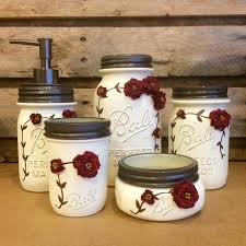 Mason Jar Bathroom Storage by Shabby Chic Mason Jar Bathroom Set Mason Jar Desk Set
