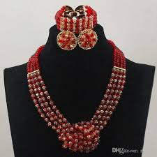 african beads necklace sets images African beads jewelly set red gold bridesmaids necklace set match jpg