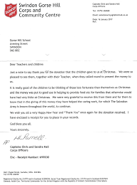 salvation army thank you letter gorse hill