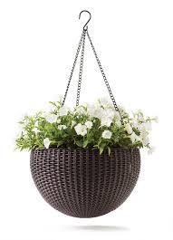 keter rattan effect anthracite hanging planter 355 6 mm rattan