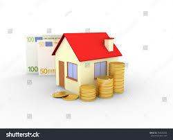 euro house house stacks coins euro banknotes white stock illustration
