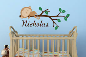 boys monkey name wall decal jungle nursery safari nursery