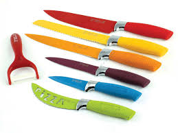 coloured kitchen knives set 7 pc multi colour waltmann und sohn kitchen knife set with rubber