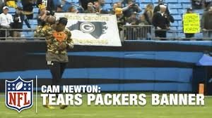 Green Bay Packer Flag Cam Newton Rips Down Packers Fans U0027 Banner Video Proof Nfl