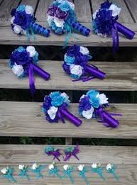 purple and blue wedding vibrant multicultural wedding white wedding bouquets white