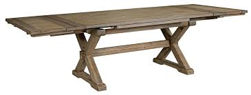 rustic weathered gray saw buck dining table with self storing