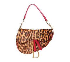 dior brown and red leopard print saddle tote bag
