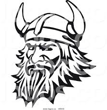 royalty free viking in black and white logo by vector tradition sm