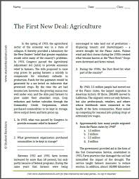 first new deal agriculture reading with questions