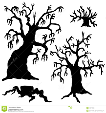 spooky trees silhouette collection royalty free stock photo