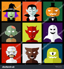 Cartoon Halloween Monsters Vector Illustration Halloween Monster Icons Stock Vector 220872883