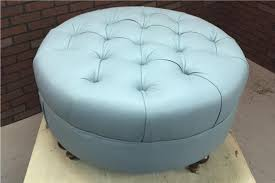 learn to upholster a round tufted leather ottoman