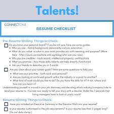 Resume Checklist Blogs U2014 Connectone