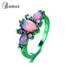 opal rings unique images Bamos new fashion green gold filled butterfly ring unique purple jpg