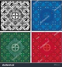 vector medieval pattern different color schemes stock vector