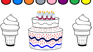 learn colors for baby and color this ice cream and cake coloring