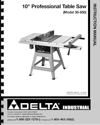 delta 13 10 in table saw delta 10 table saw instruction manual for model no 36 650 ebay