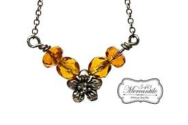beaded silver necklace images Amber czech ab beaded silver floral focal in sterling necklace jpg