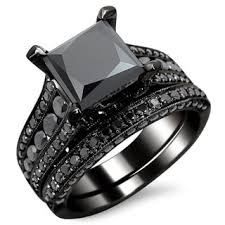 black engagement ring set noori 14k black gold 2ct tdw certified black princess cut