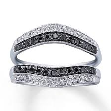 kays black engagement rings enhancer ring 1 2 ct tw black white 14k white gold