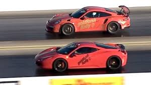gold porsche gt3 porsche gt3 rs vs ferrari 458 italia goldrush rally 14 mile drag