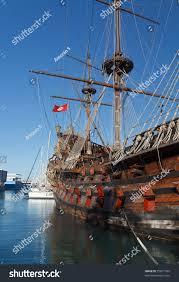 old spanish galleon moored genova harbor stock photo 75871585