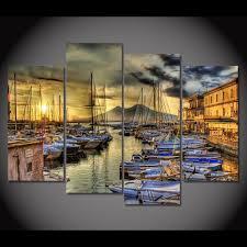 online shop canvas painting 4 piece canvas art naples italy wharf