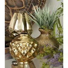 Decorative Vases 6 In Modern Polished Gold Ceramic Decorative Vases Set Of 3