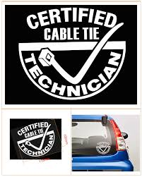 jdm sticker on car certified cable tie technician for car window jdm vinyl decal