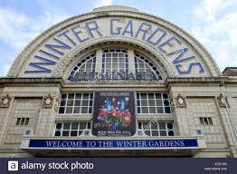 close up of the front of the winter gardens theatre complex in
