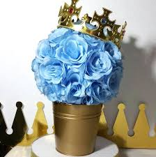 boy baby shower centerpieces flower pail prince baby shower table centerpiece boys