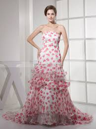 floral prints featured strapless mermaid prom dress