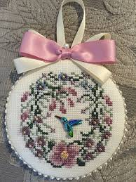 just nan finished cross stitch ornament honeysuckle