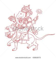 ganesha riding mouse outline stock vector 458828773 shutterstock