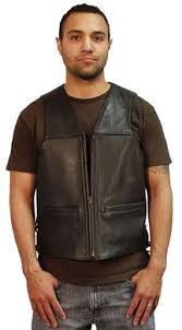Cowhide Leather Vest Mv7 Heavy Leather Vest Zip Biker Vest