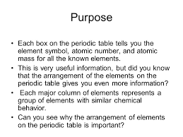 what is the purpose of the periodic table pre lab 15b periodic table challenge ppt video online download