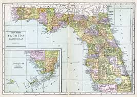 Florida Political Map by Large Detailed Old Administrative Map Of Florida With All Cities