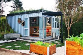 shipping container converted into an outdoor living space roof