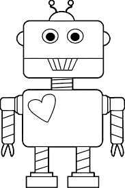 robot heart coloring page wecoloringpage