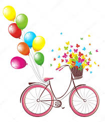 romantic birthday card bicycle with balloons and basket full of