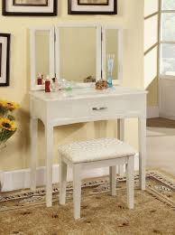 Jewelry And Makeup Vanity Table Varnished White Oak Wood Dressing Table With Jewelry Armoire Of