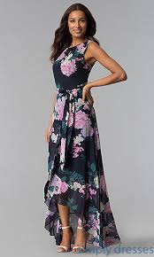 wedding guest dresses floral print navy high low wedding guest dress